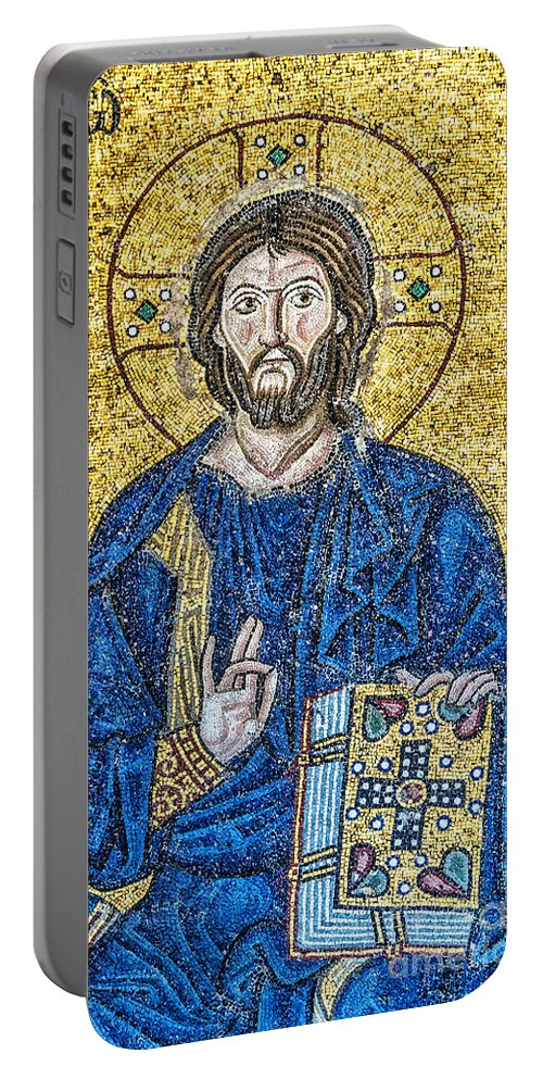 Istanbul Portable Battery Charger featuring the photograph Hagia Sofia Mosaic 08 by Antony McAulay