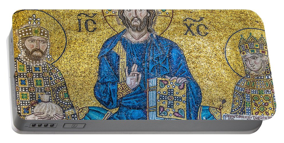 Istanbul Portable Battery Charger featuring the photograph Hagia Sofia Mosaic 09 by Antony McAulay