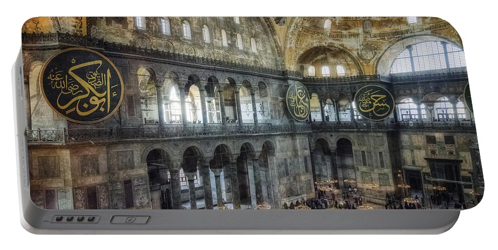 Architecture Portable Battery Charger featuring the photograph Hagia Sophia Interior by Joan Carroll