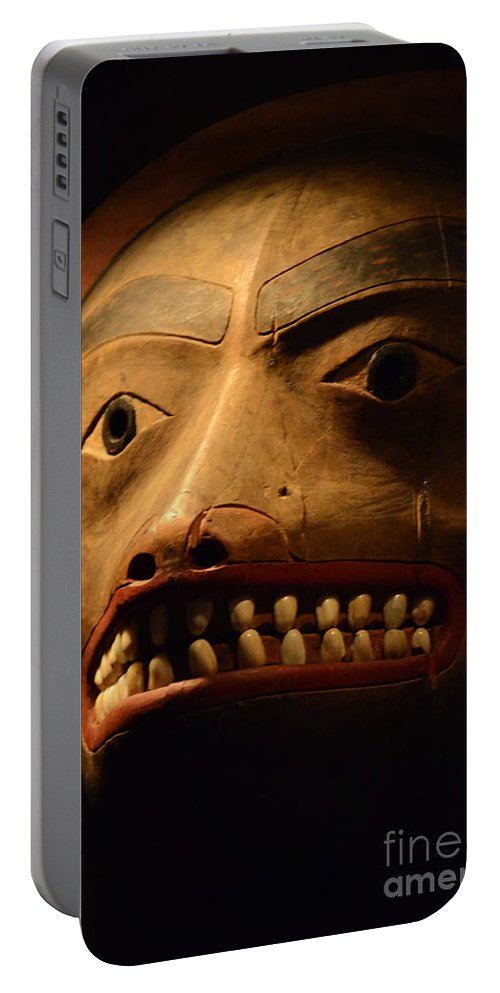 Carved Mask Portable Battery Charger featuring the photograph Tlingit Mask by Bob Christopher