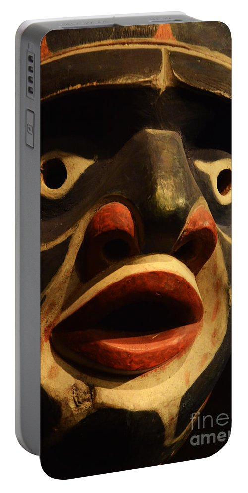 Carved Mask Portable Battery Charger featuring the photograph Haida Carved Wooden Mask 5 by Bob Christopher