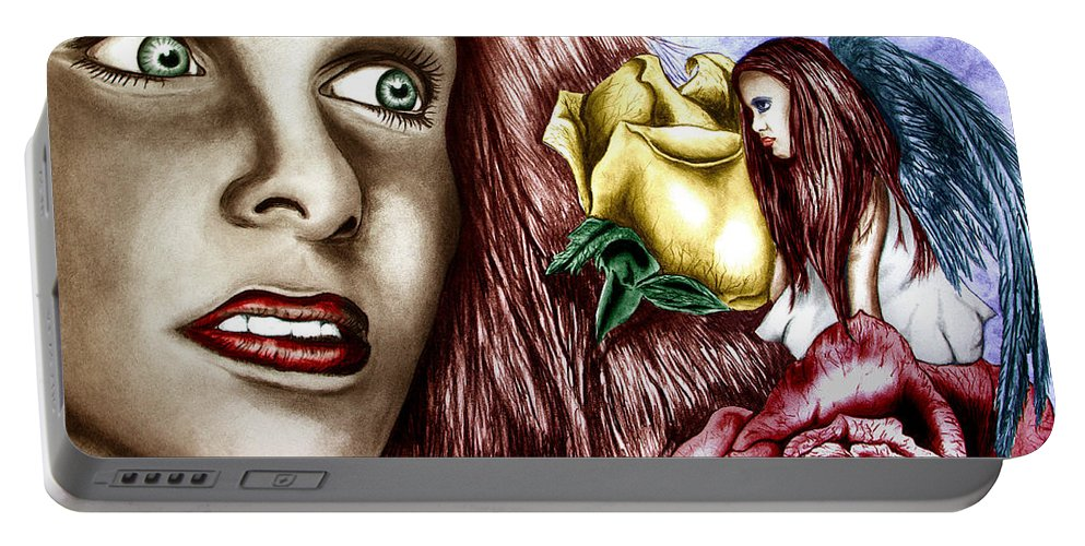 Haleys Apparition Portable Battery Charger featuring the drawing Haleys Apparition Colored by Peter Piatt