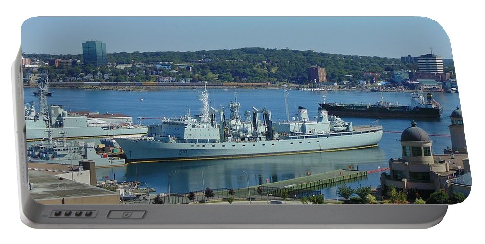 Ships Portable Battery Charger featuring the photograph Halifax Harbor Shipping by John Malone