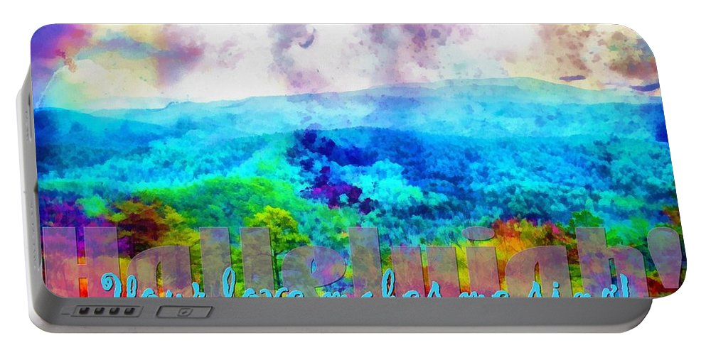 Jesus Portable Battery Charger featuring the digital art Hallelujah by Michelle Greene Wheeler