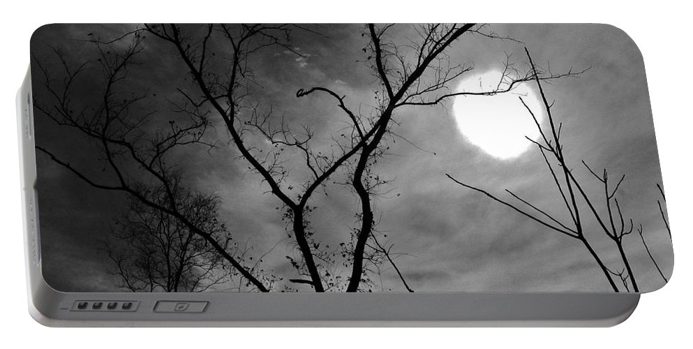 Hallow Portable Battery Charger featuring the photograph Hallow Moon by Keri West
