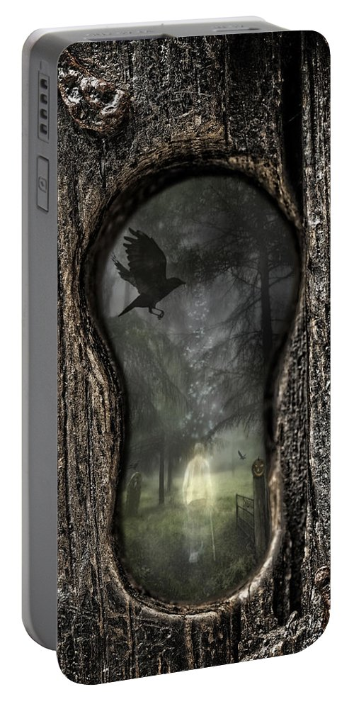 Ghostly Portable Battery Charger featuring the photograph Halloween Keyhole by Amanda Elwell