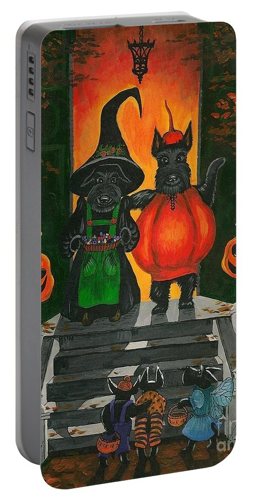 Halloween Portable Battery Charger featuring the painting Halloween Macduff by Margaryta Yermolayeva