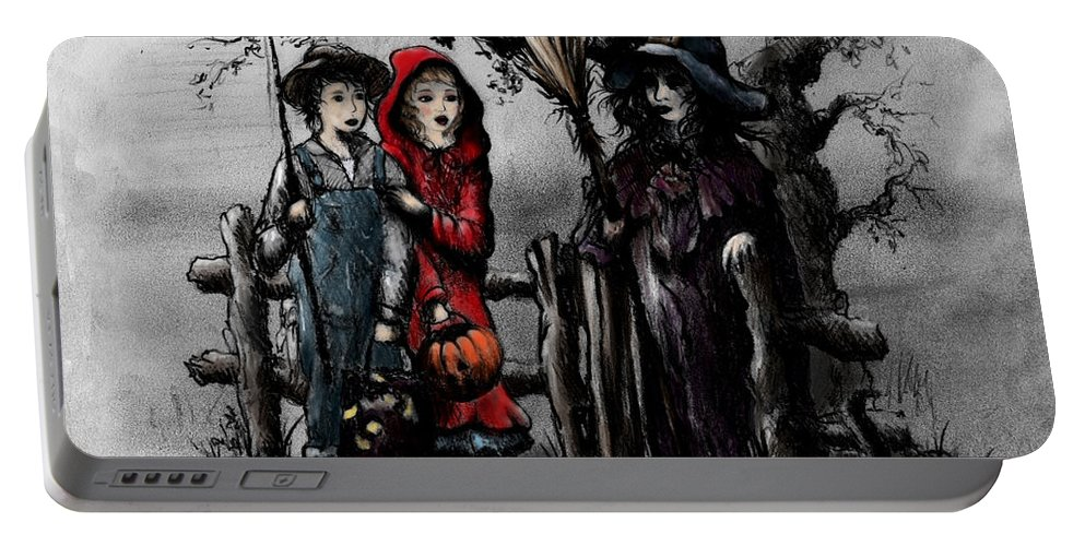 Halloween Portable Battery Charger featuring the drawing Halloween Night by Rachel Christine Nowicki