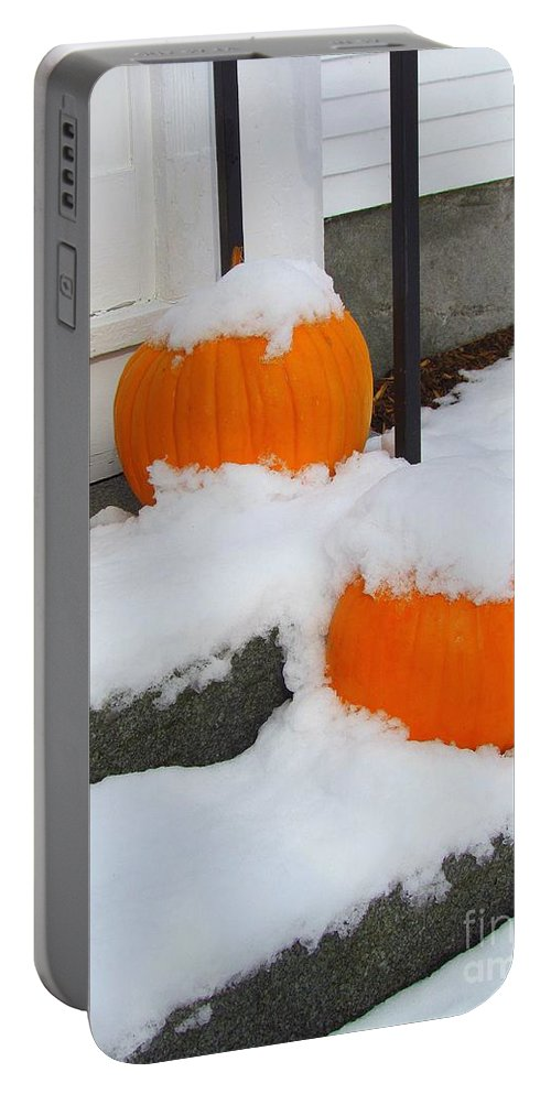 Pumpkins Portable Battery Charger featuring the photograph Halloween Snow by Elizabeth Dow