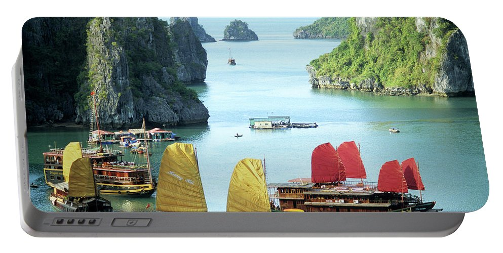 Vietnam Portable Battery Charger featuring the photograph Halong Bay Sails 01 by Rick Piper Photography