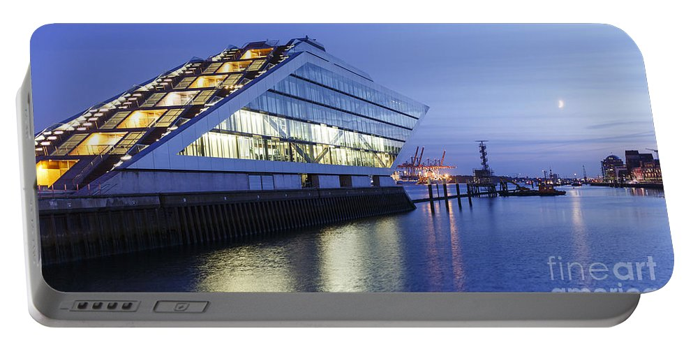 2014 Portable Battery Charger featuring the photograph Hamburg Dockland At Night by Jannis Werner