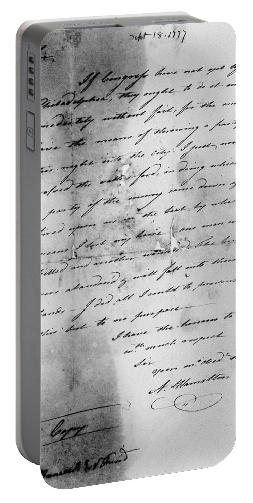 1777 Portable Battery Charger featuring the photograph Hamilton: Letter, 1777 by Granger