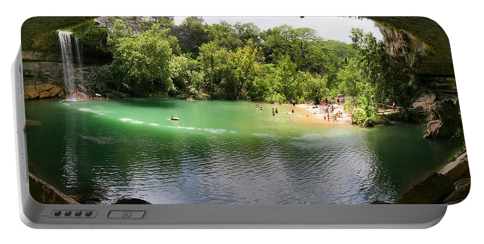 Hamilton Pool Portable Battery Charger featuring the photograph Hamilton Pool Cave by Randy Smith