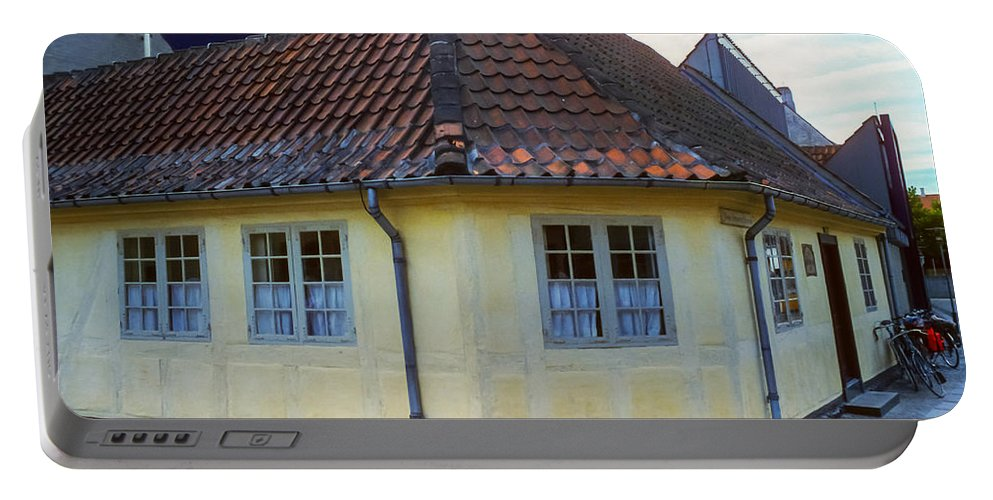 Hans Christian Anderson Birthplace House Houses Structure Structures Building Buildings Architecture Tile Roof Tiles Odense Denmark Landmark Landmarks Portable Battery Charger featuring the photograph Hans Christian Anderson Birthplace by Bob Phillips