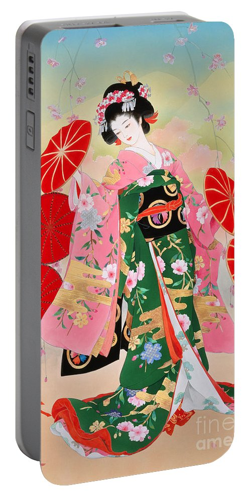 Haruyo Morita Digital Art Portable Battery Charger featuring the digital art Hanako by MGL Meiklejohn Graphics Licensing