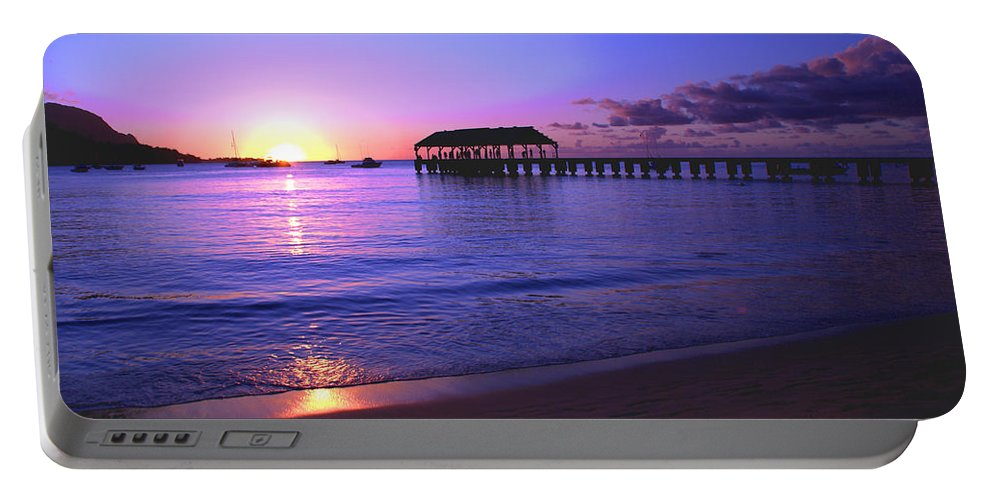 Hanalei Bay Pier Sunset Seascape Kauai Hawaii Portable Battery Charger featuring the photograph Hanalei Bay Pier Sunset by Brian Harig