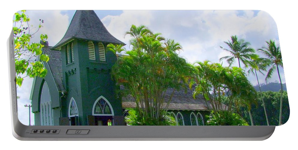 Church Portable Battery Charger featuring the photograph Hanalei Church by Mary Deal