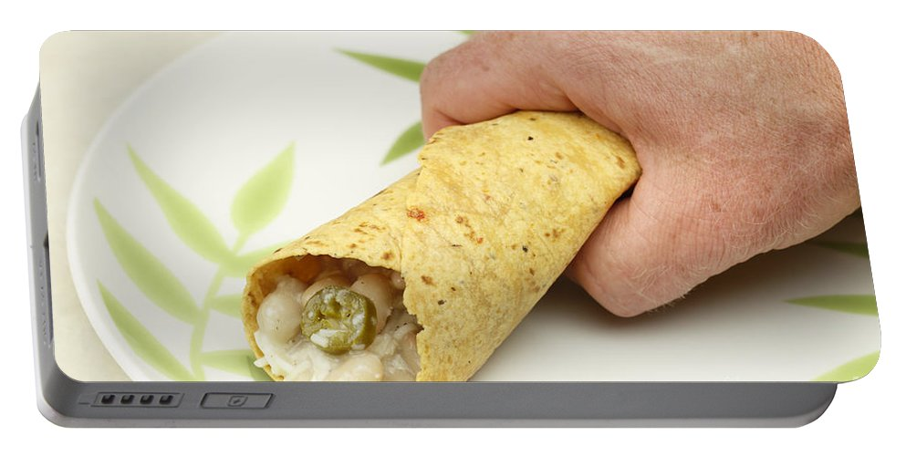 Hand Portable Battery Charger featuring the photograph Hand Holding A Burrito by Lee Serenethos