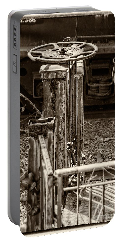 Black And White Portable Battery Charger featuring the photograph Handbrake by Jay Ressler