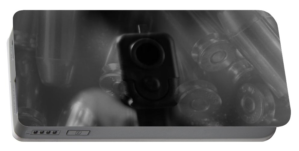 Handgun And Ammunition Portable Battery Charger featuring the photograph Handgun And Ammunition by Dan Sproul