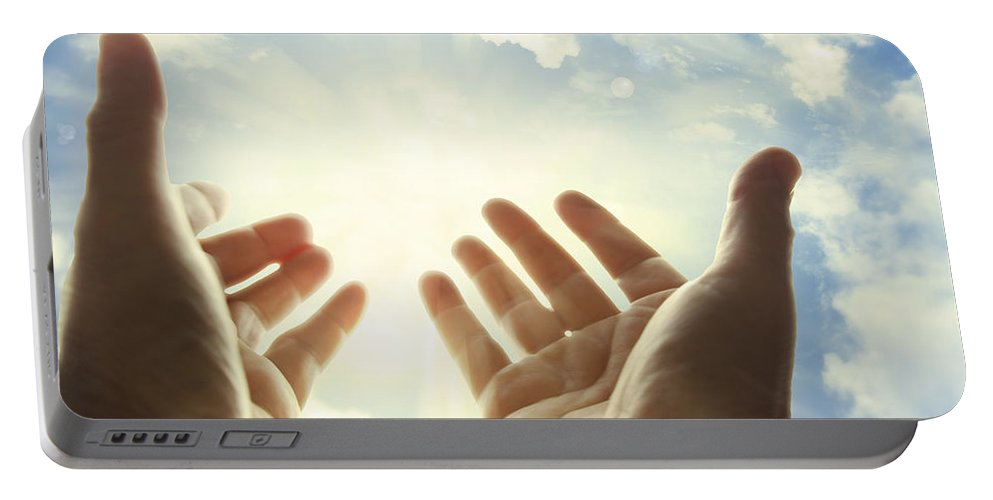 Seek Portable Battery Charger featuring the photograph Hands In Sky by Les Cunliffe