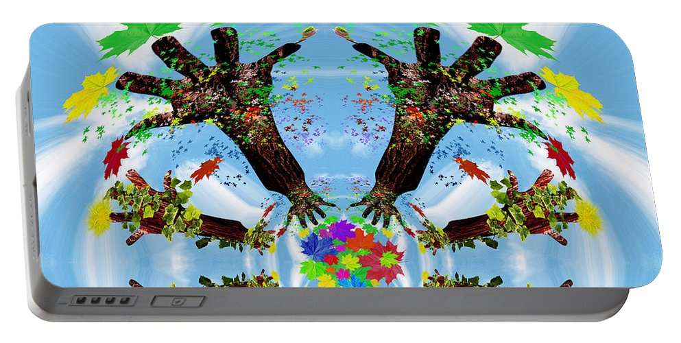 Nature Portable Battery Charger featuring the painting Hands Of Nature by Neil Finnemore