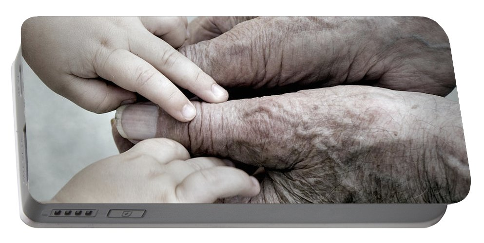 Age Portable Battery Charger featuring the photograph Hands Of Time by Jayne Gohr