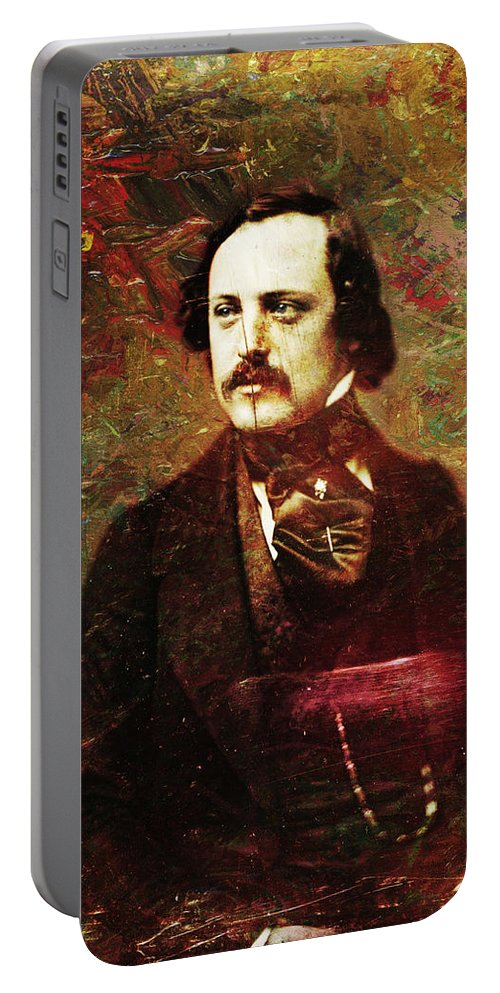 Daguerrotype Portable Battery Charger featuring the painting Handsome Fellow 5 by James W Johnson