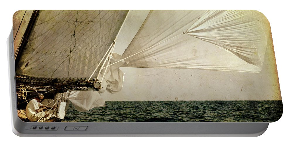 Tall Portable Battery Charger featuring the photograph Hanged On Wind In A Mediterranean Vintage Tall Ship Race by Pedro Cardona Llambias
