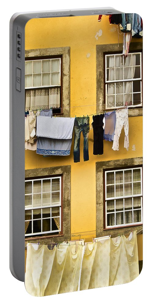 Art Portable Battery Charger featuring the photograph Hanging Clothes Of Old World Europe by David Letts