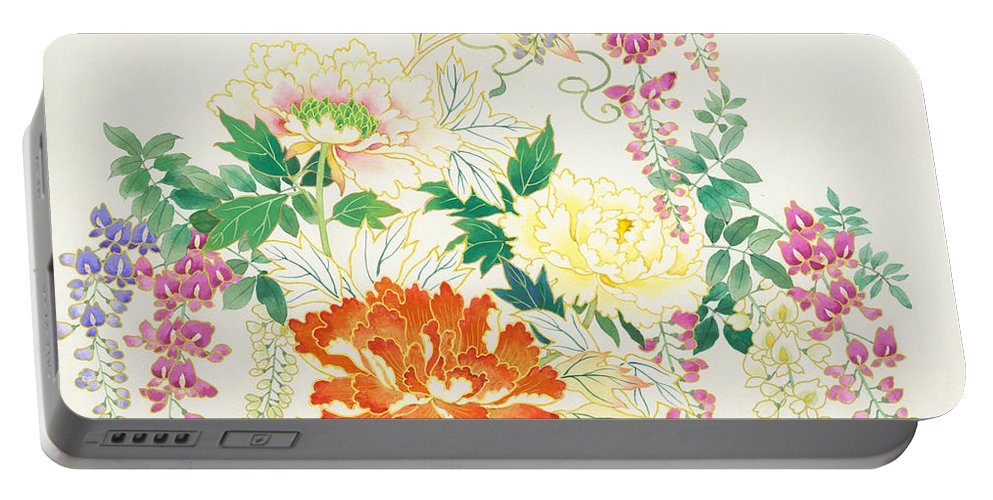 Haruyo Morita Digital Art Portable Battery Charger featuring the digital art Hanging Flowers by MGL Meiklejohn Graphics Licensing