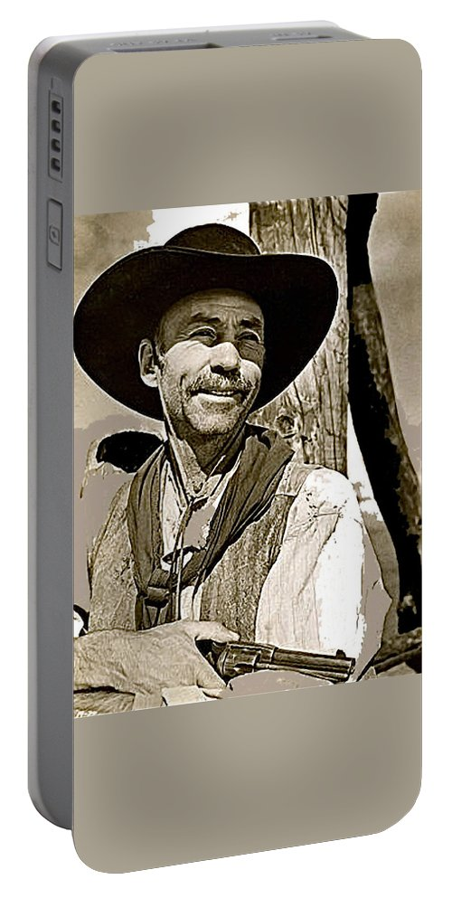 Hank Worden Publicity Photo Red River 1948 Portable Battery Charger featuring the photograph Hank Worden Publicity Photo Red River 1948-2008 by David Lee Guss