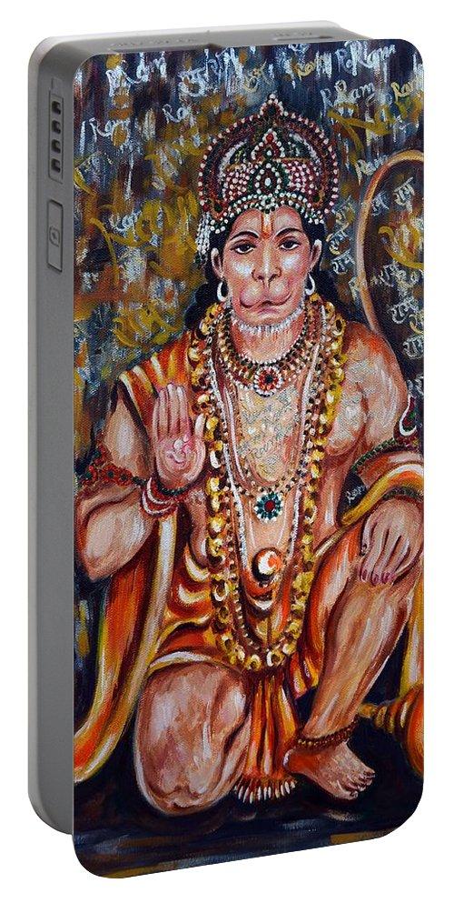 Hanuman Portable Battery Charger featuring the painting Hanuman by Harsh Malik