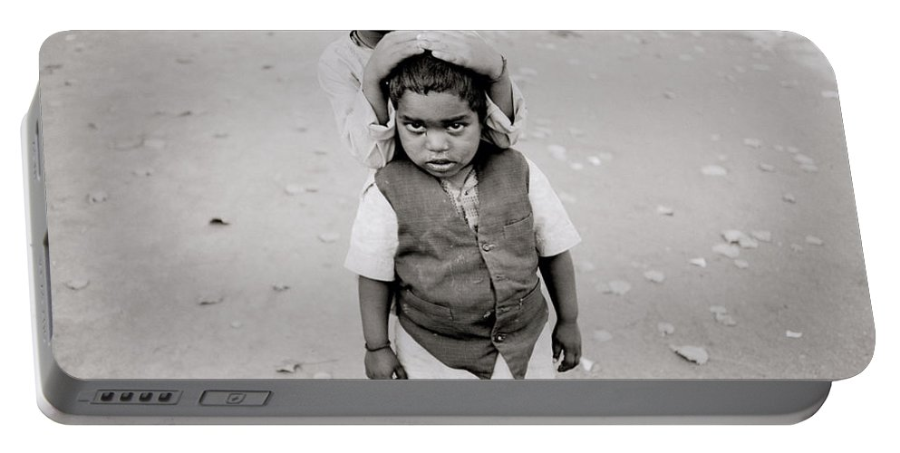 Black And White Portable Battery Charger featuring the photograph Happiness In India by Shaun Higson