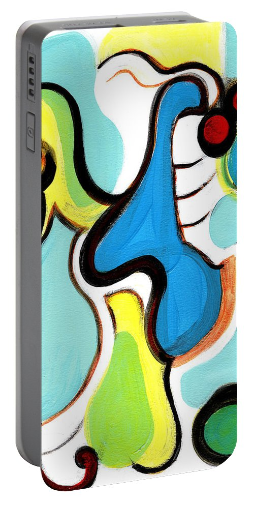Abstract Art Portable Battery Charger featuring the painting Happiness by Stephen Lucas