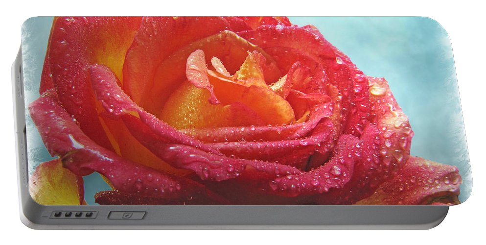 Dew Portable Battery Charger featuring the photograph Happy Anniversary Rose by Debbie Portwood