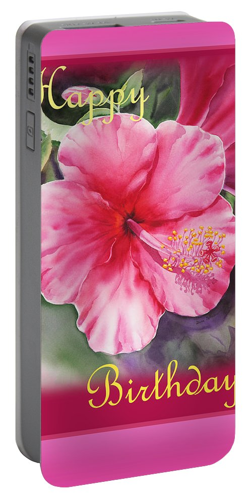 Hibiscus Portable Battery Charger featuring the painting Happy Birthday Hibiscus by Irina Sztukowski