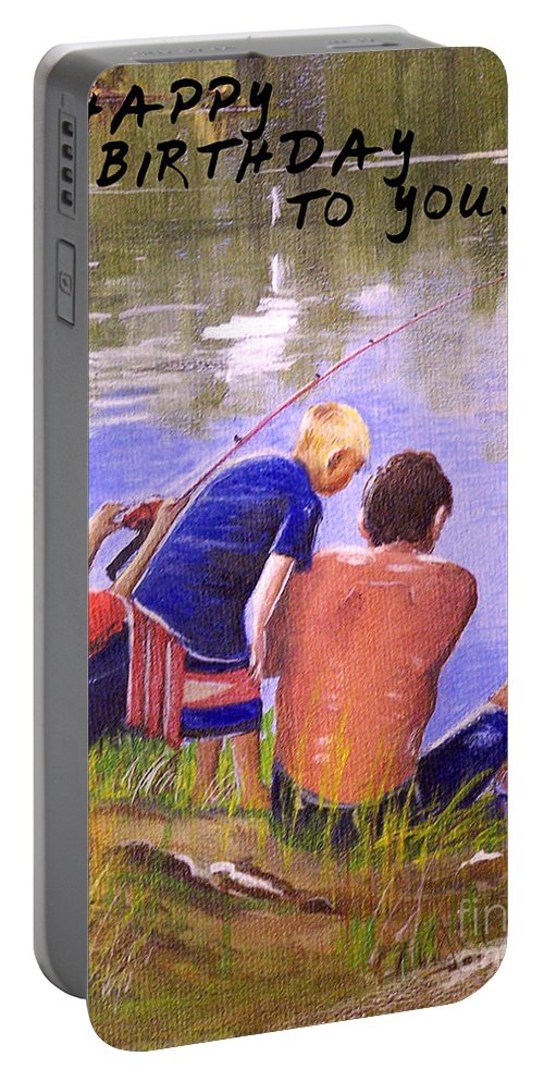 Happy Birthday Portable Battery Charger featuring the painting Happy Birthday To You by Bill Holkham