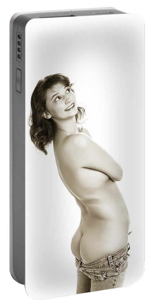 Female Portable Battery Charger featuring the photograph Happy Butt 1041.01 by Kendree Miller
