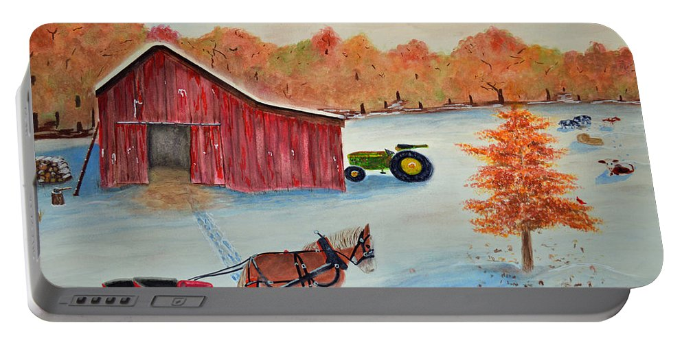 Greeting Portable Battery Charger featuring the painting Happy Holidays Card by Ken Figurski