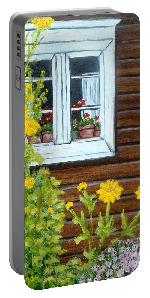 Window Portable Battery Charger featuring the painting Happy Homestead by Laurie Morgan