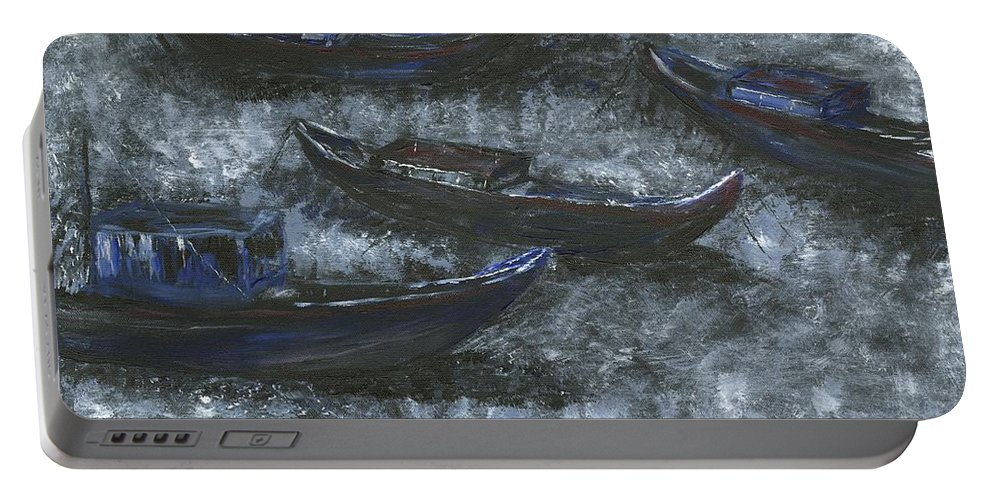 Fishing Portable Battery Charger featuring the painting Happy Hookers by Alice Faber