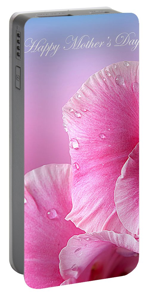 Mother's Day Portable Battery Charger featuring the photograph Happy Mother's Day Macro Pink Rose Petals by Randall Branham