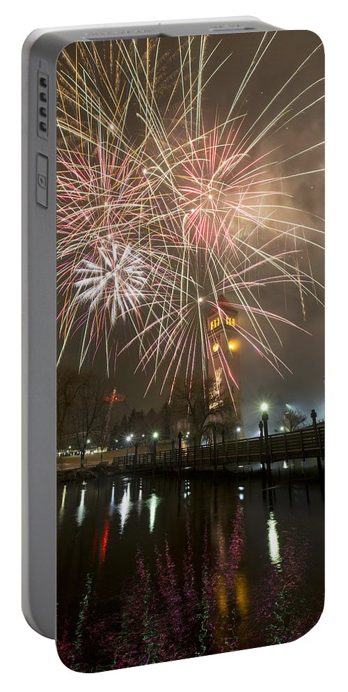 Fireworks Portable Battery Charger featuring the photograph Happy New Year 2014 A by Paul DeRocker