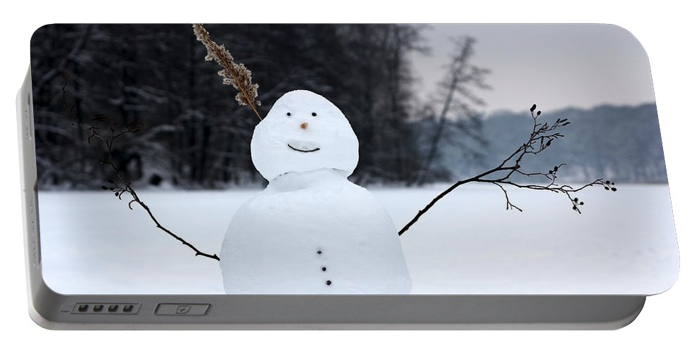 Berlin Portable Battery Charger featuring the photograph Happy Snowman by Jannis Werner