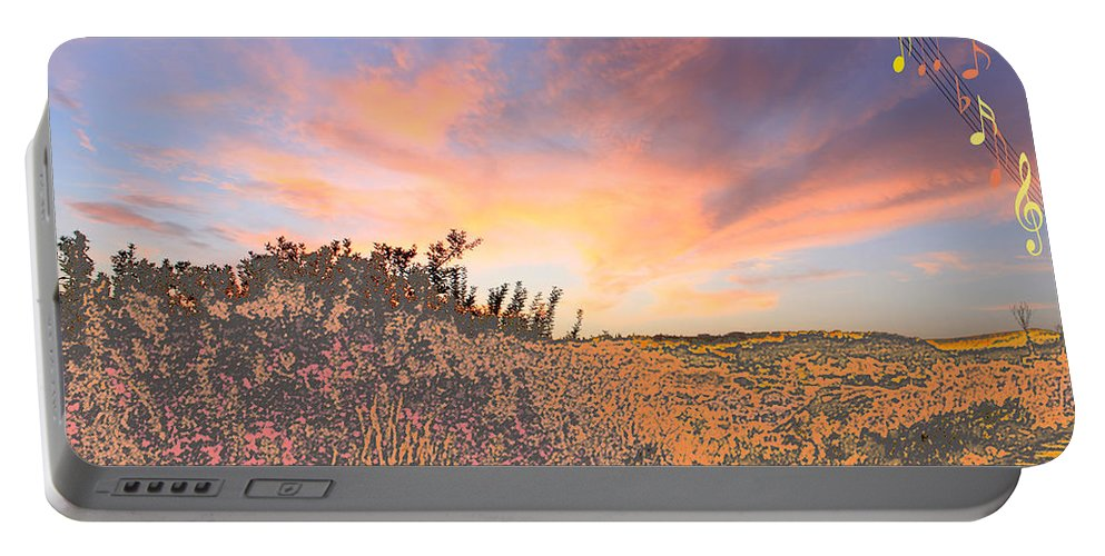 Augusta Stylianou Portable Battery Charger featuring the digital art Happy Sunset by Augusta Stylianou