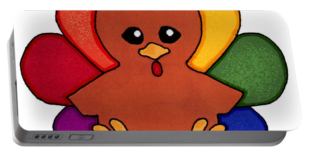 Happy Portable Battery Charger featuring the digital art Happy Turkey Day by Samantha Geernaert