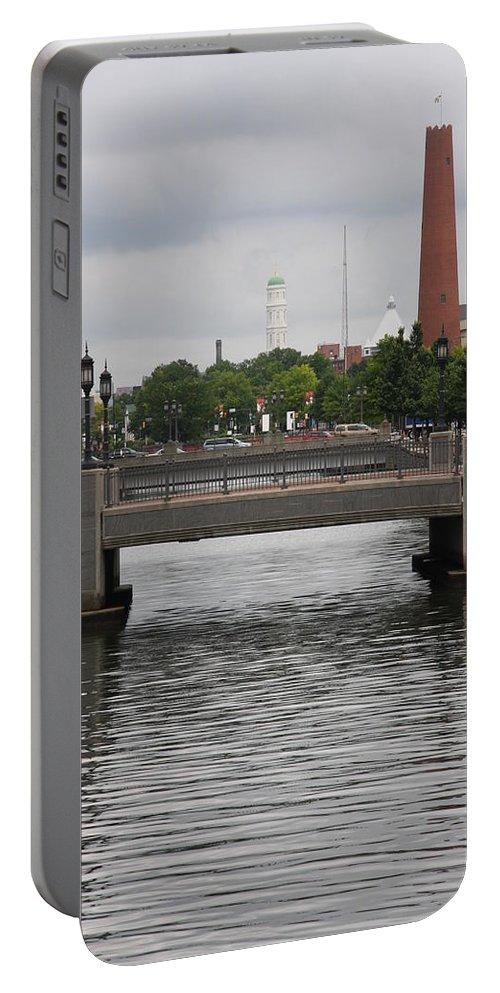 Pedestrian Bridge Portable Battery Charger featuring the photograph Harbor Bridge - Baltimore Harbor by Christiane Schulze Art And Photography