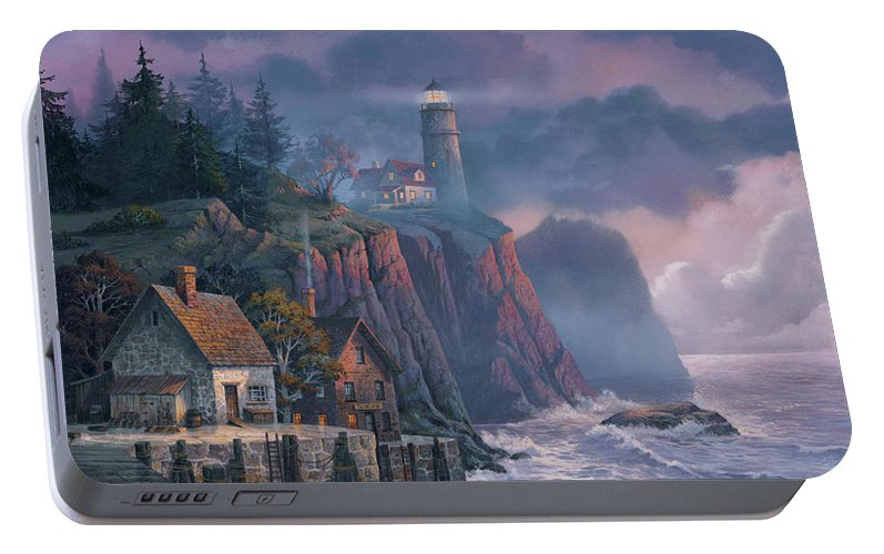 Michael Humphries Portable Battery Charger featuring the painting Harbor Light Hideaway by Michael Humphries