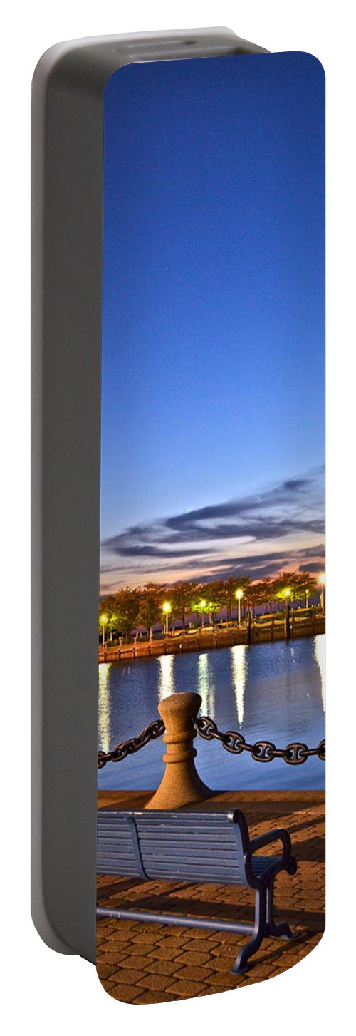 Harbor Portable Battery Charger featuring the photograph Harbor Lights by Frozen in Time Fine Art Photography